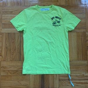 Off-White 2013 Neon Green Contracting Graphic Tee